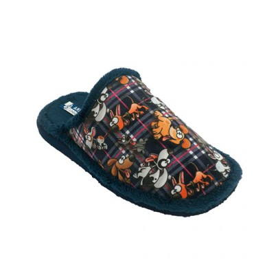 Slipper at home woman open back puppies Andinas in navy blue