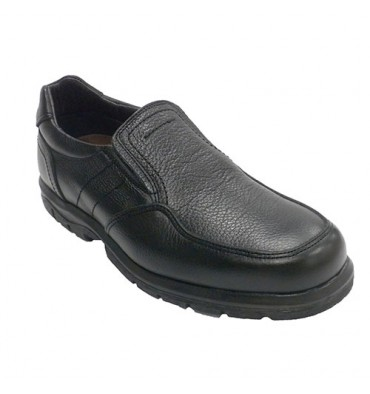 Men's elastic rubber floor shoe on the side engraved leather Clayan in black