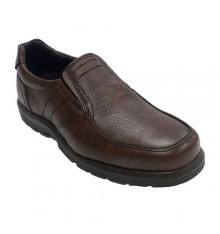 Men's elastic rubber floor shoe on the side engraved leather Clayan in brown