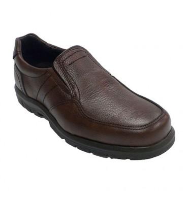 Zapato hombre piso de goma elásticos a los lados piel grabada Clayan en marrón