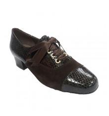 Zapato mujer combinado ante y charol Roldán en marrón
