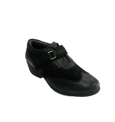 Women's shoe with Velcro combined leather and suede 48 Hours in black