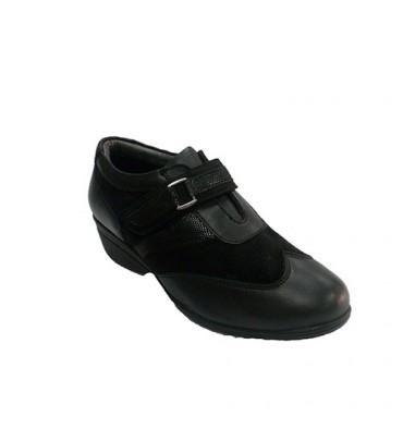 Zapato mujer con velcro combinado piel y ante 48 Hours en negro