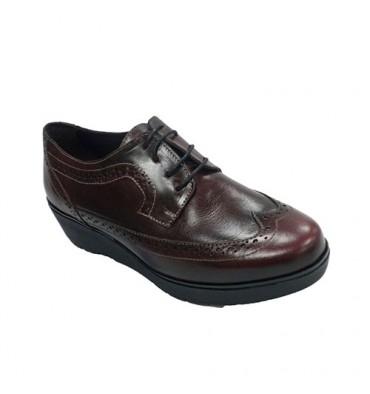 Zapato mujer con cordones cuña tipo inglés Sigo en burdeos