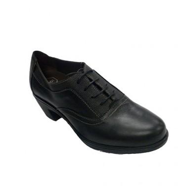 Zapato mujer con cordones tacón de goma Sigo en negro