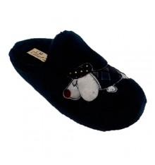 Sapato de mulher aberto atrás de um cão de desenho Calzamur em Azul-marinho