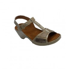 Sandal woman open toe and heel Confort Class in toasted