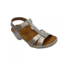 Sandal woman open toe and heel with diamonds Confort Class in metallic