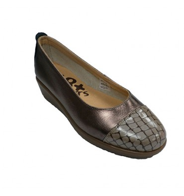 Sapatos mulher wedge sapatos wedge crocodilo toe 48 Hours em Metálico