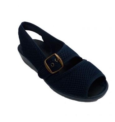 Zapatillas tela rejilla mujer abierta punta y talón con hebilla en empeine Nevada en azul marino