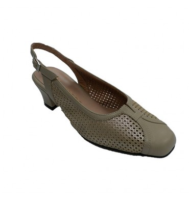 Woman dress shoe closed open toe back Trebede in beig