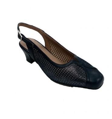 Woman dress shoe closed open toe back Trebede in blue