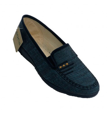 Woman closed shoe being home summer Soca in blue