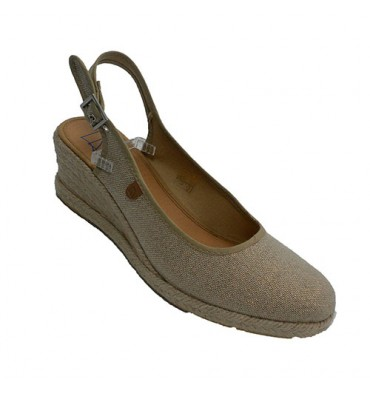 Shoe woman open back hemp wedge Calzamur in beig