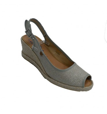 Shoe woman open toe and heel wedge hemp Calzamur in gray
