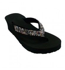 Flip-flops beach pool woman with wedge rhinestones Gioseppo in black