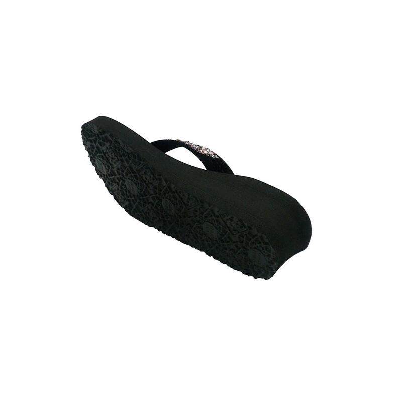 0cab276b7807 Flip-flops beach pool woman with wedge rhinestones Gioseppo in black ...