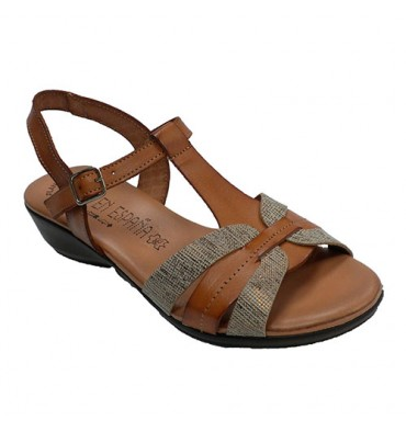 Sandal woman comfortable gel plant Togar in leather