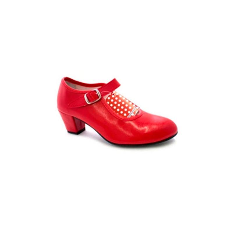 ab90017b Zapato baile sevillanas flamenco para niña o mujer Danka en rojo