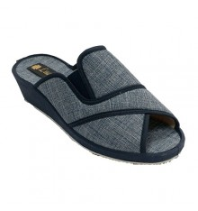Women's open toe slip and elastic side heel Ludiher in jeans
