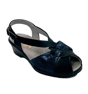Very wide woman sandal Lumel in navy blue