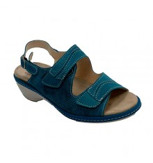 Sandals woman with velcro Lumel in blue