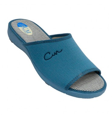 Woman shoe open toe and heel Calzamur in blue