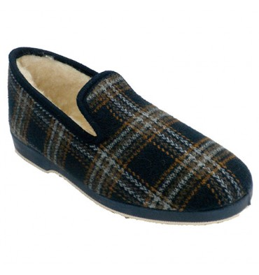 Slipper blue checkered cloth Soca in blue