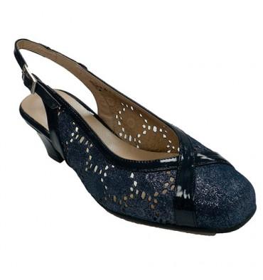 Zapato vestir mujer calado abierto detrás ancho especial Trebede en azul marino