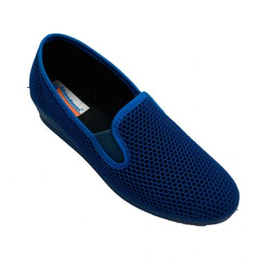 Slippers woman fabric grid side gums Soca in blue