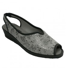 Woman open toe and heel shoes with back strap Ludiher in gray