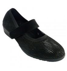 Zapatillas velcro mujer invierno tipo merceditas Doctor Cutillas en negro