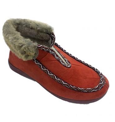 Shoe being home woman type elastic boot on instep Soca in cognac