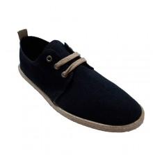 Men's sneakers laces hemp edge leather insole Calzamur in blue