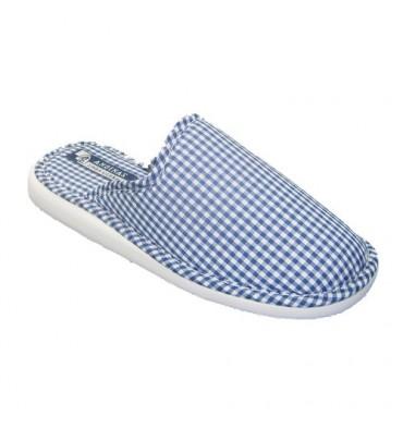 Chancla toalla de puntera cerrada motivo vichy Andinas en azul marino