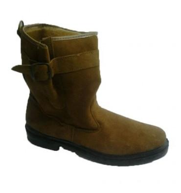 Camurça bota corte médio com fivela camelo Vulsega