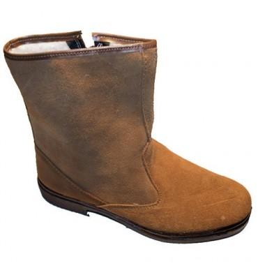 Camurça bota corte médio com zíper Altureña camelo