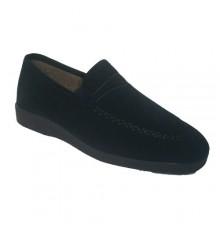 Sapato muito confortável no escuro pano azul Soca