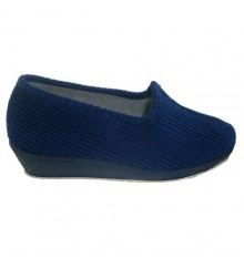 Closed corduroy Wedge Soca in blue