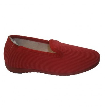 Corduroy flat shoe Soca in red
