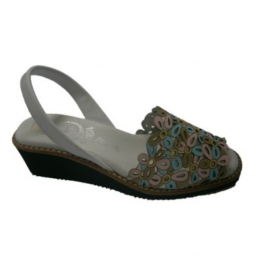 Menorca wedge motif of colorful flowers Menorquina in white