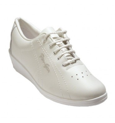 Deportivo laces lady leather wedge Fergar in white