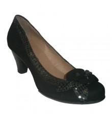 Zapato salón con lazo y borde brillante Ferglo en negro
