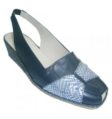 Sandal open back and forth with esparto wedge strip dotted with crocodile Festival in navy blue