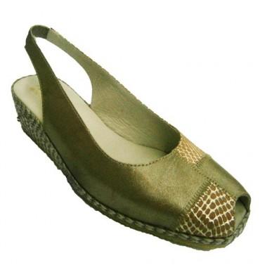 Sandalia abierta adelante y atrás con cuña de esparto dorado y punteado de cocodrilo Festival en dorado