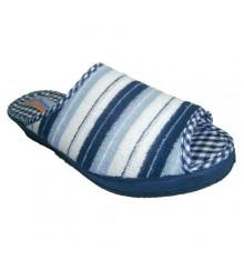 Chanclas toalla abiertas por la punta con rayas azul celeste, blanco y azulón Soca en celeste