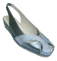 Sandal open back and forth with esparto wedge and strip braids crocodile Festival in blue