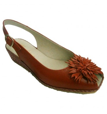 Open sandal wedge back and forth with Esparto and flower on the vamp Festival in red