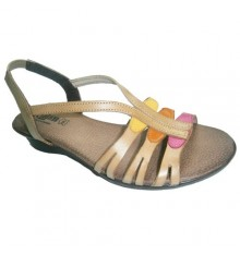 Colored strips sandal with ankle tyranny Manuel Almazan in light brown