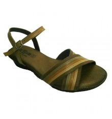 Leather sandals two crossed with different shades of brown strips Manuel Almazan in light brown